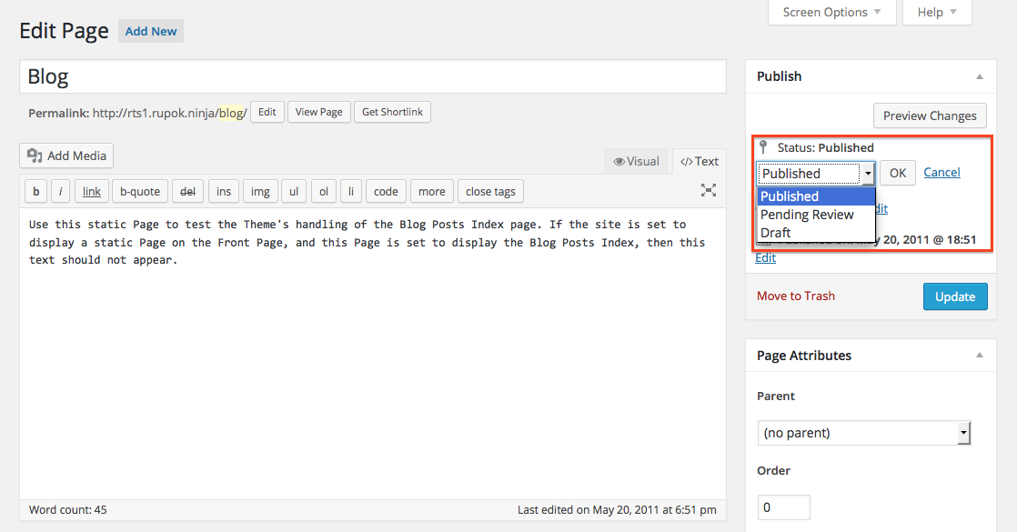 Change Page Publish Status